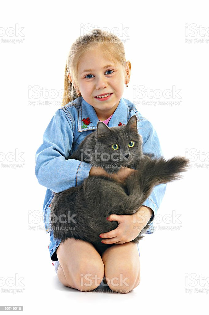 portrait girlie with cat royalty-free stock photo
