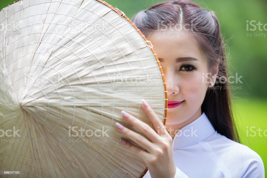 Portrait girls Vietnam traditional dress stock photo
