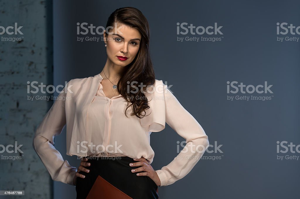 Portrait glamorous brown-haired business style girl stock photo