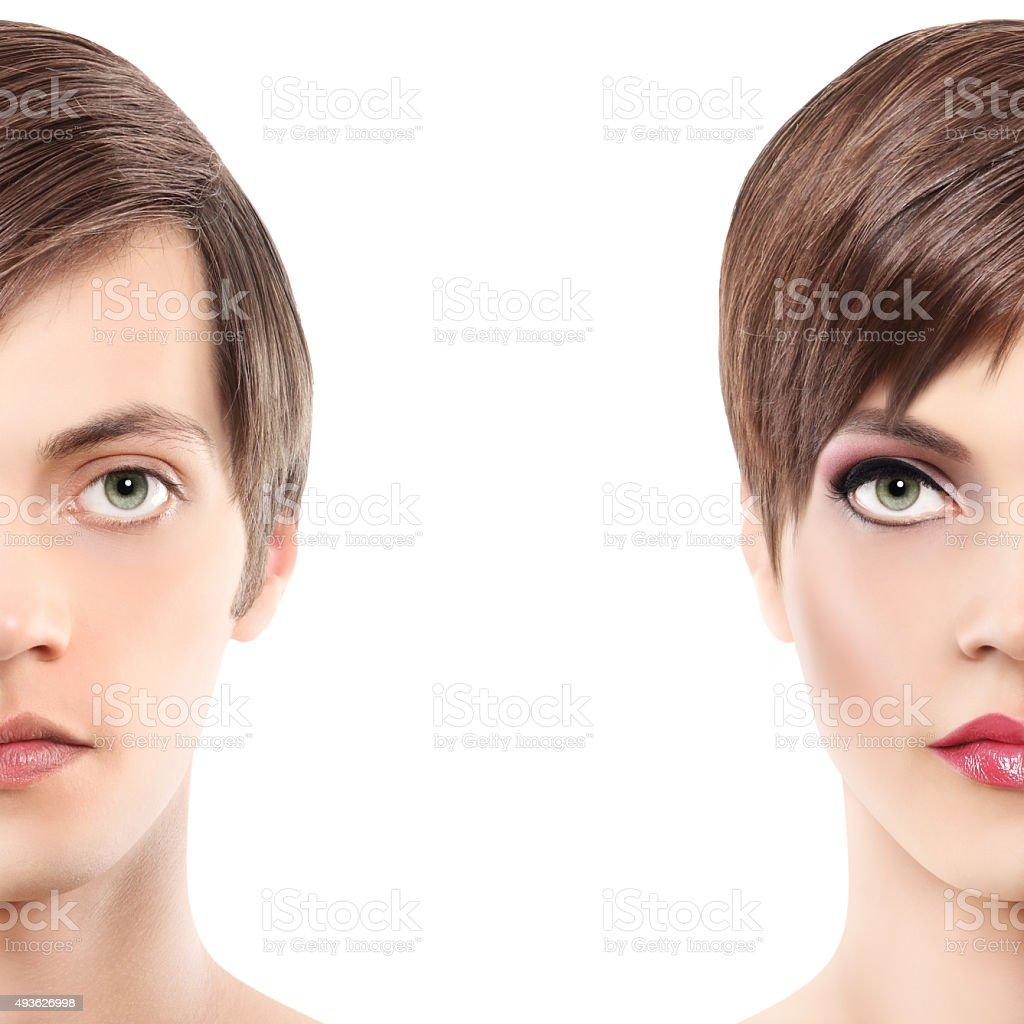 portrait half woman half man, androgyny concept stock photo