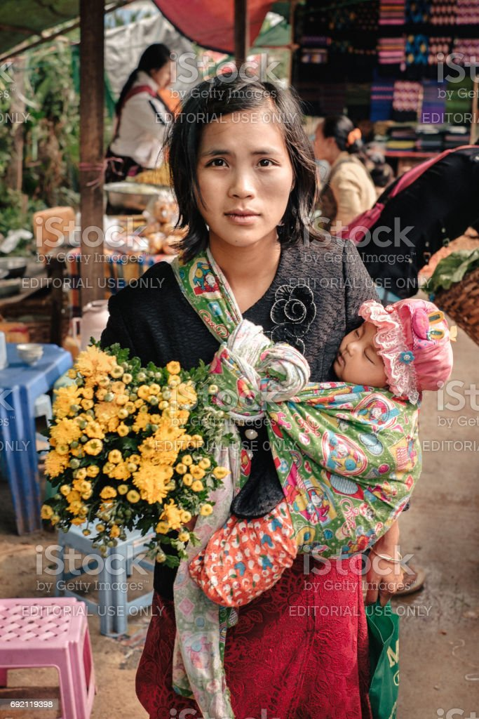 Portrait happy burmese woman with her child stock photo