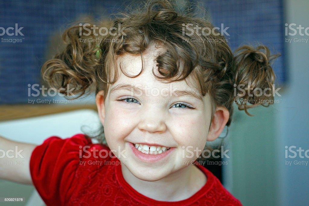 Portrait happy child laughing. stock photo
