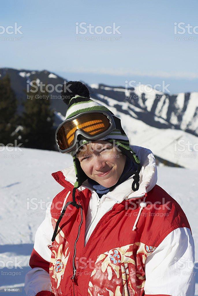 Portrait happy ski girl in red royalty-free stock photo