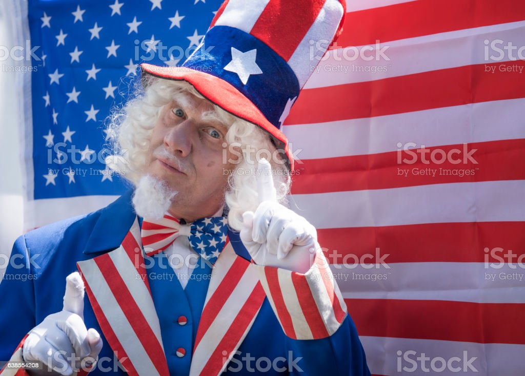 Portrait image of a man dressed a Uncle Sam. stock photo