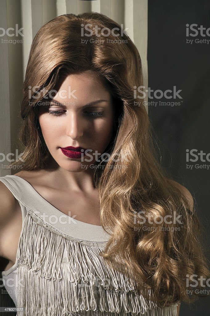portrait in dramatic light of beautyful woman royalty-free stock photo