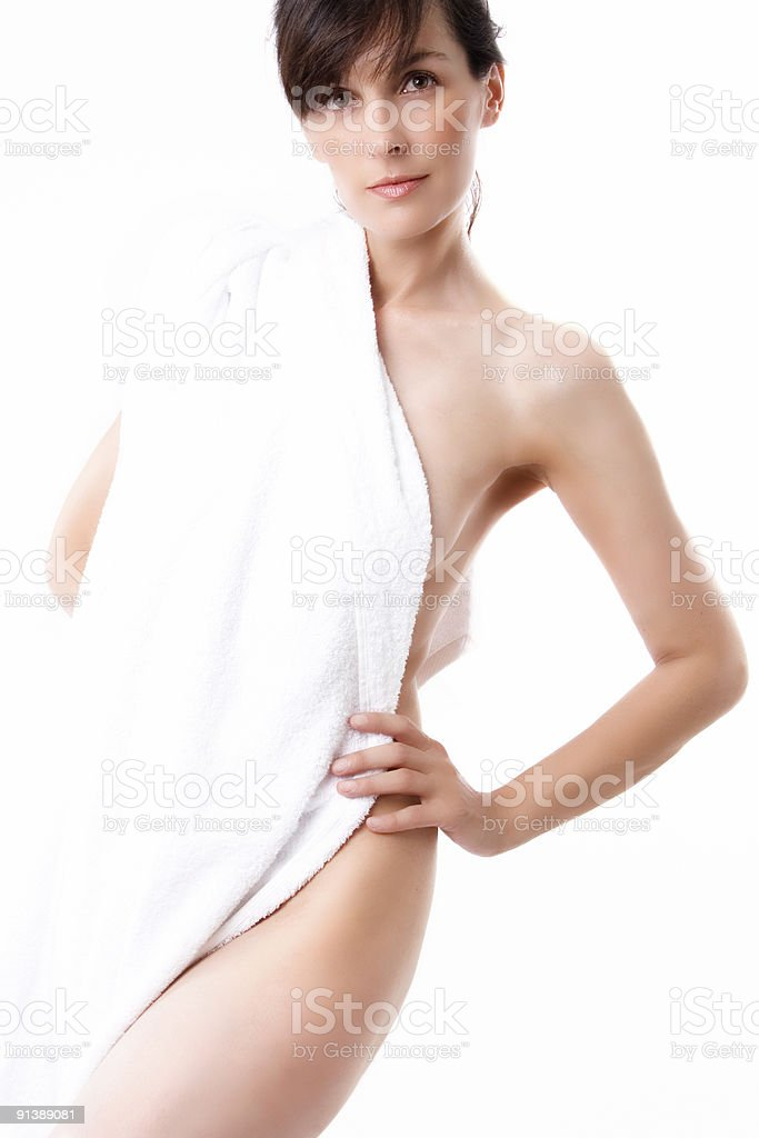 portrait in white towel royalty-free stock photo