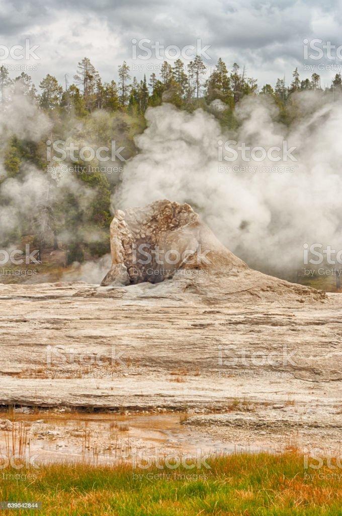 Portrait Landscape of Giant Geyser stock photo