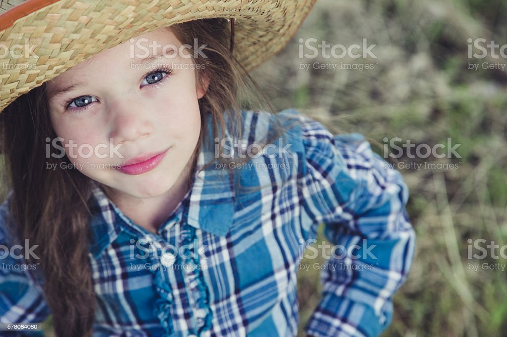 Portrait little girl Cowboy stock photo