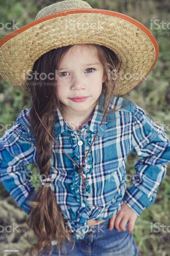 Portrait little girl Cowboy stock photo