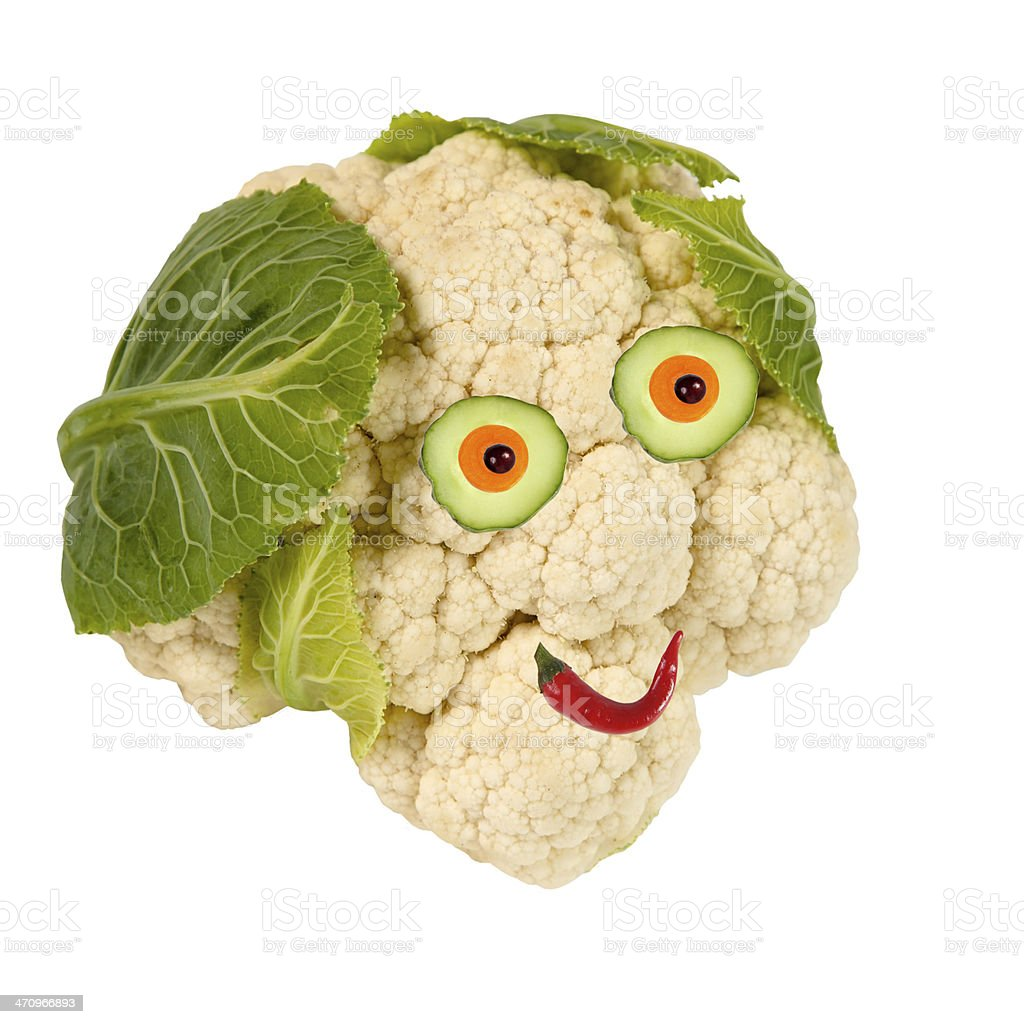 Portrait made of vegetables and fruits stock photo