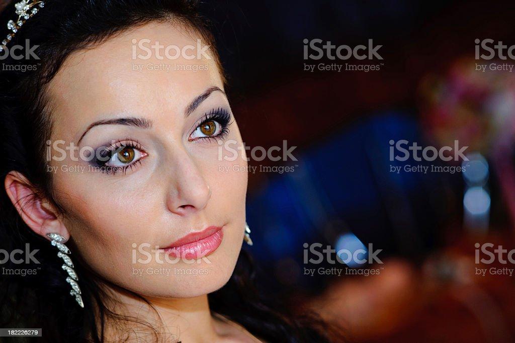 portrait model in wedding dress stock photo
