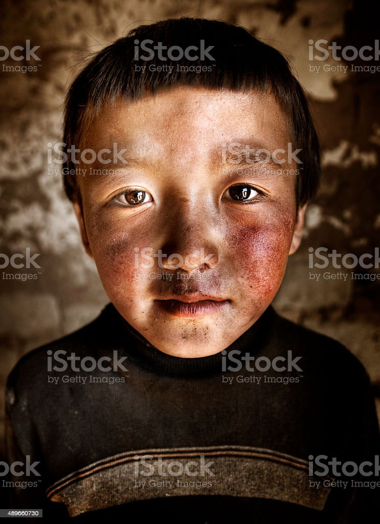 Portrait Mongolian Boy Western Mongolia Solitude Concept stock photo