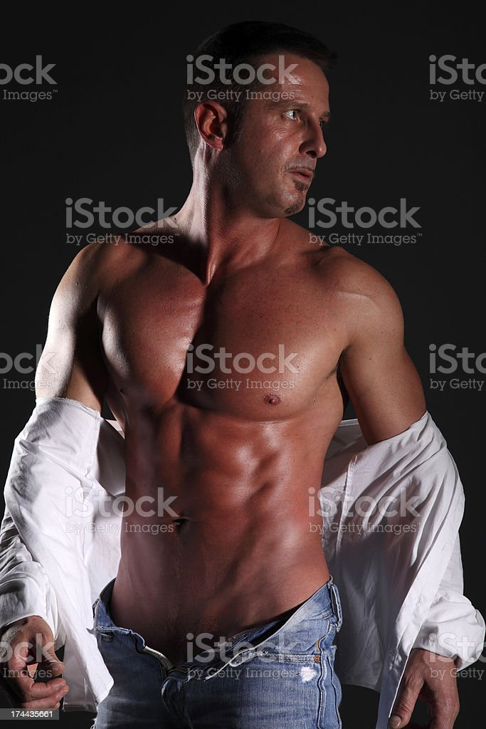 portrait muscular man on black background royalty-free stock photo