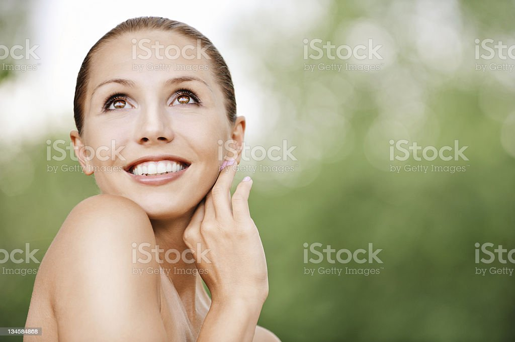 portrait naked attractive young woman looking up royalty-free stock photo
