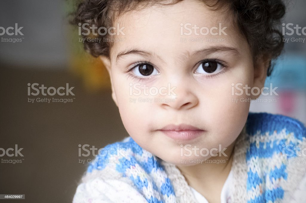 Portrait of 2 years Old Toddler With Blank Expression stock photo