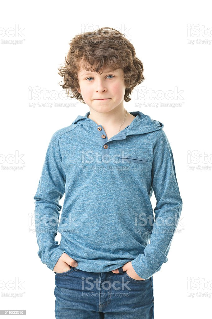 portrait of 8 years old boy stock photo