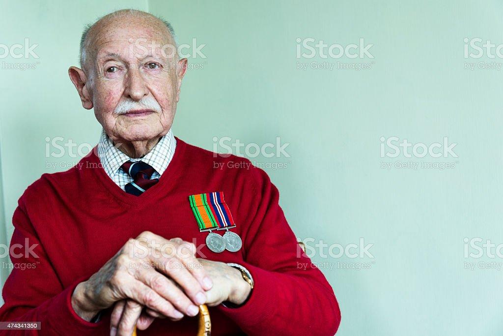 Portrait of a 90 Year Old World War 2 Veteran stock photo