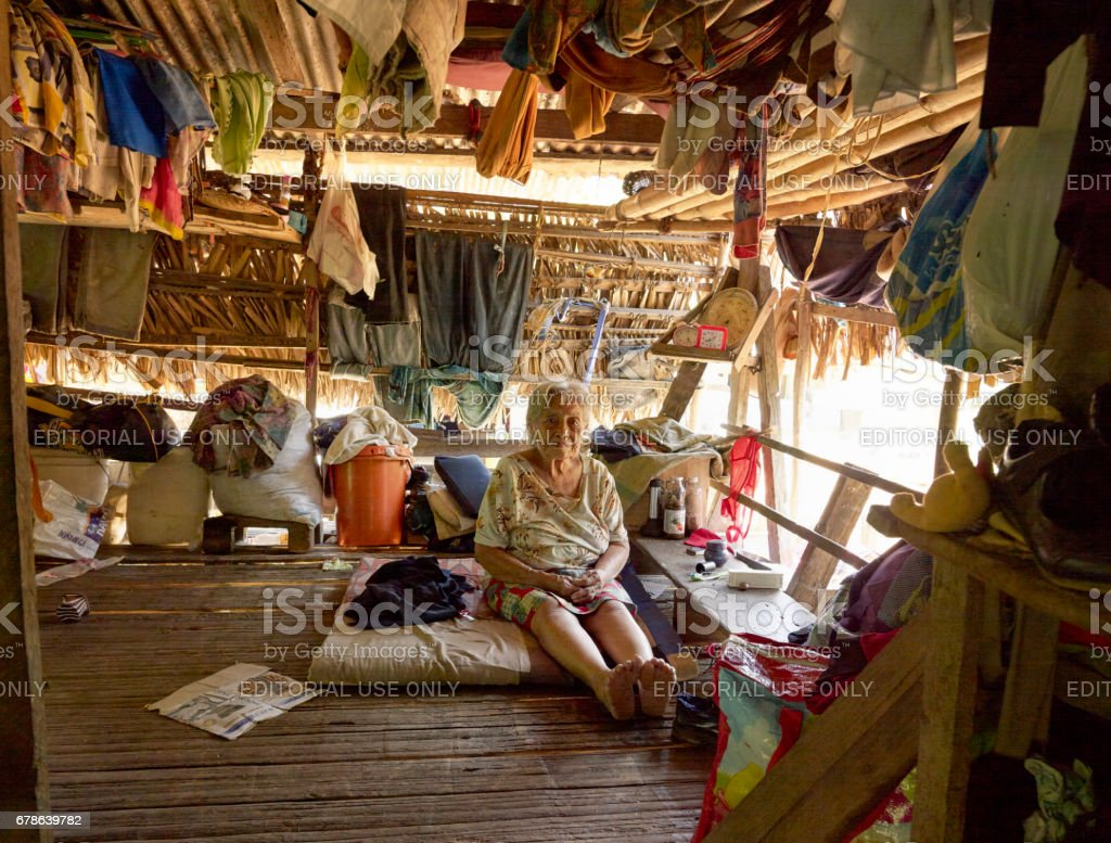 Portrait of a 96 years old woman, the oldest person at Embera Drua Tribe. April 23, 2013 - Panama stock photo