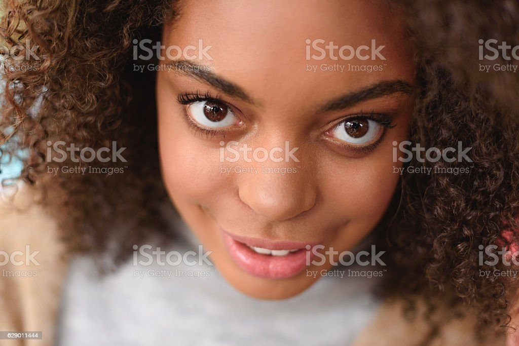 portrait of a african american girl stock photo