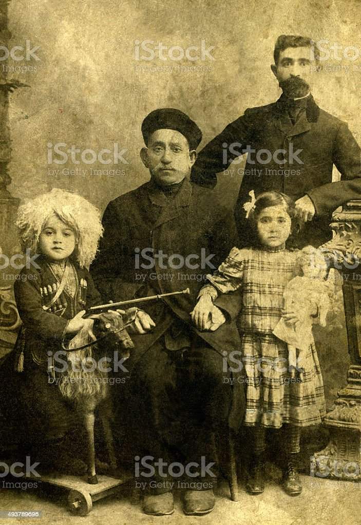 Portrait of a armenian family. stock photo
