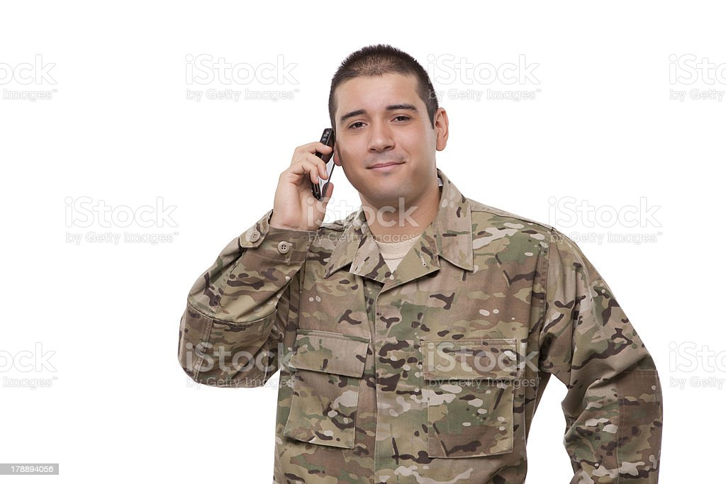Portrait of a army veteran talking on the phone royalty-free stock photo
