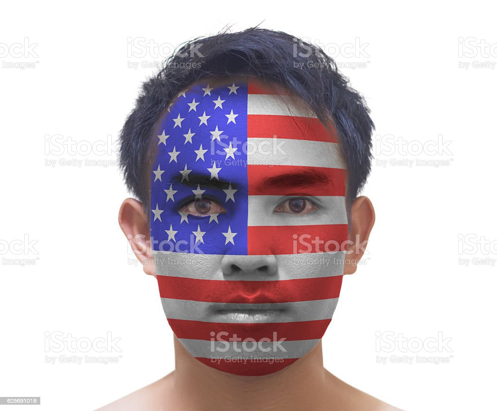 Portrait of a asian man with a painted American flag, stock photo