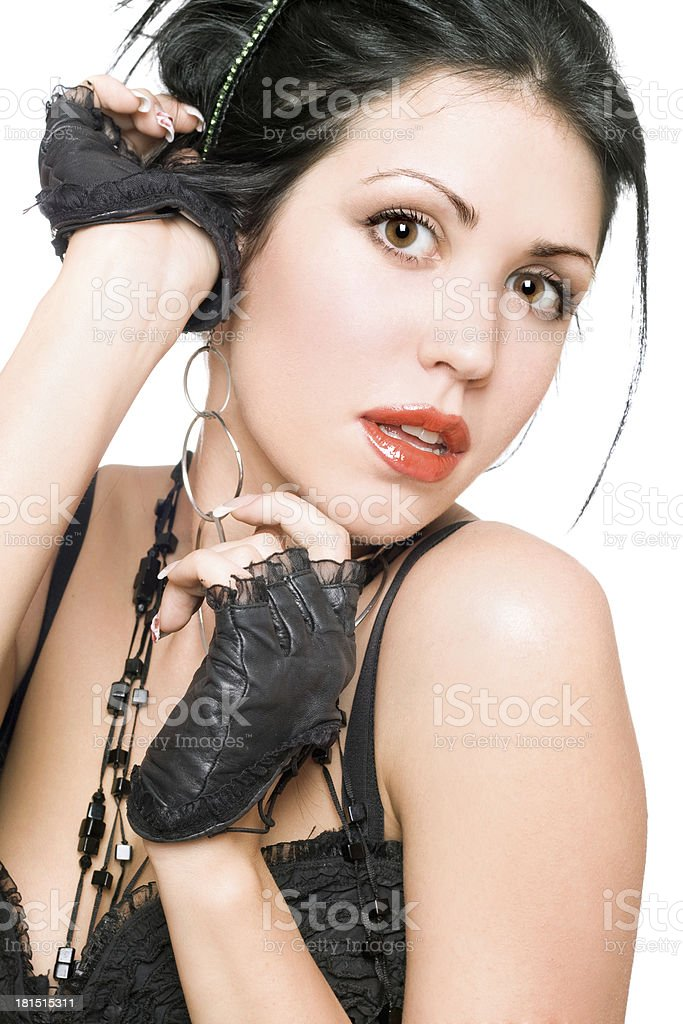 Portrait of a attractive brunette. Isolated royalty-free stock photo