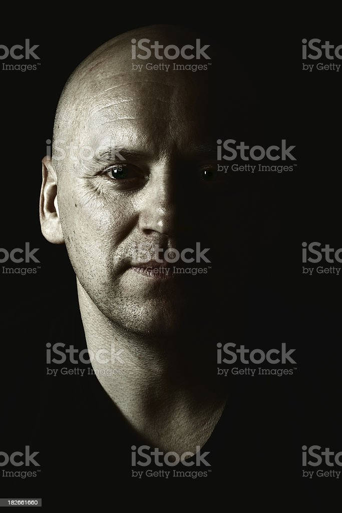 portrait of a bald man royalty-free stock photo