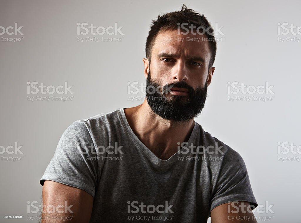 Portrait of a bearded guy stock photo