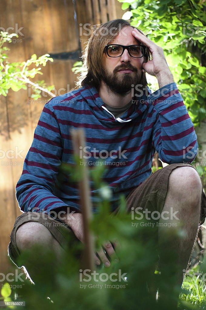 Portrait of a bearded man stock photo