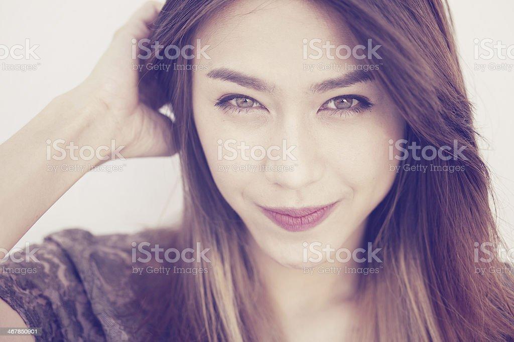 Portrait of a beautiful asian woman. stock photo