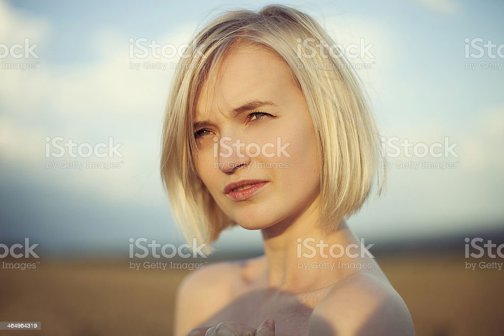 Portrait of a beautiful blonde girl royalty-free stock photo