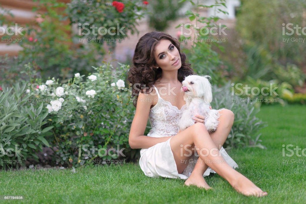 portrait of a beautiful bride in summer stock photo