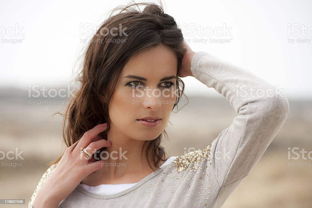 Portrait of a beautiful brunette with brown eyes royalty-free stock photo