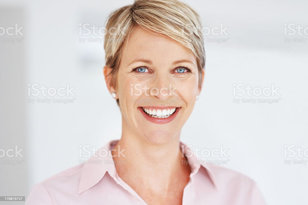 Portrait of a beautiful business woman smiling stock photo
