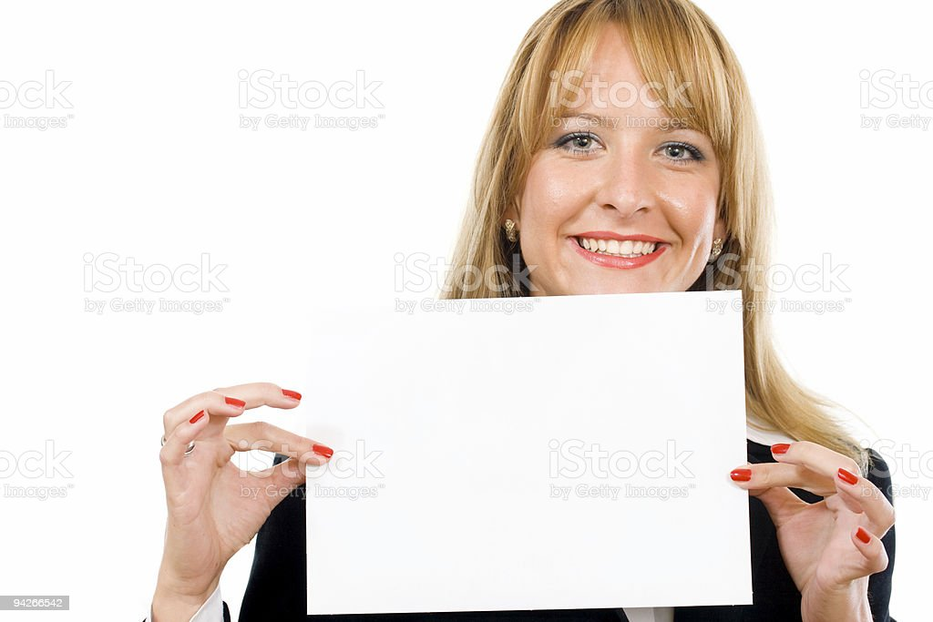Portrait of a beautiful businesswoman holding  blank notecard. royalty-free stock photo
