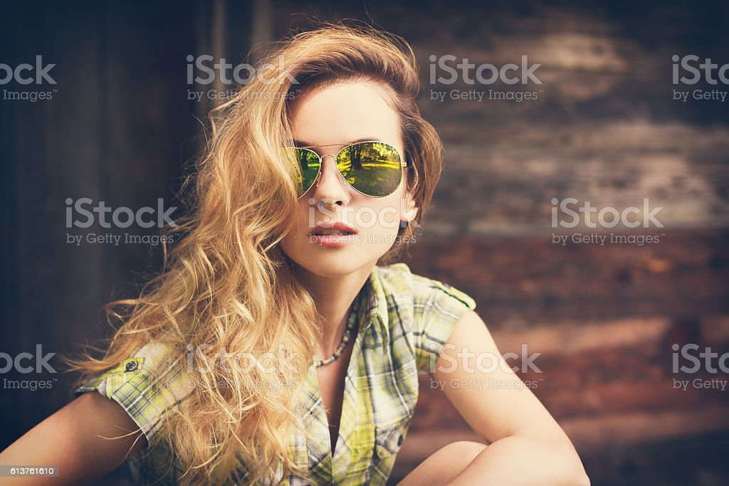Portrait of a Beautiful Fashion Hipster Girl stock photo