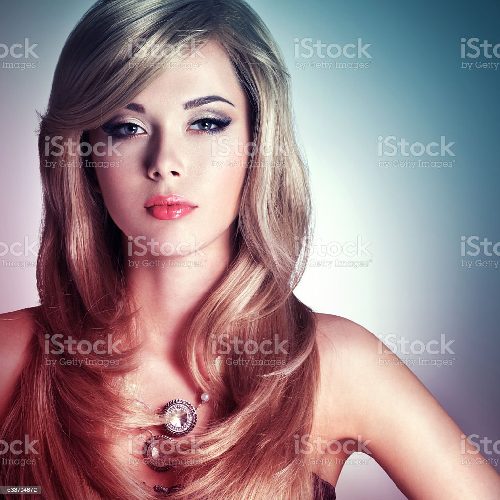 Portrait of a beautiful  fashion woman with bright makeup stock photo
