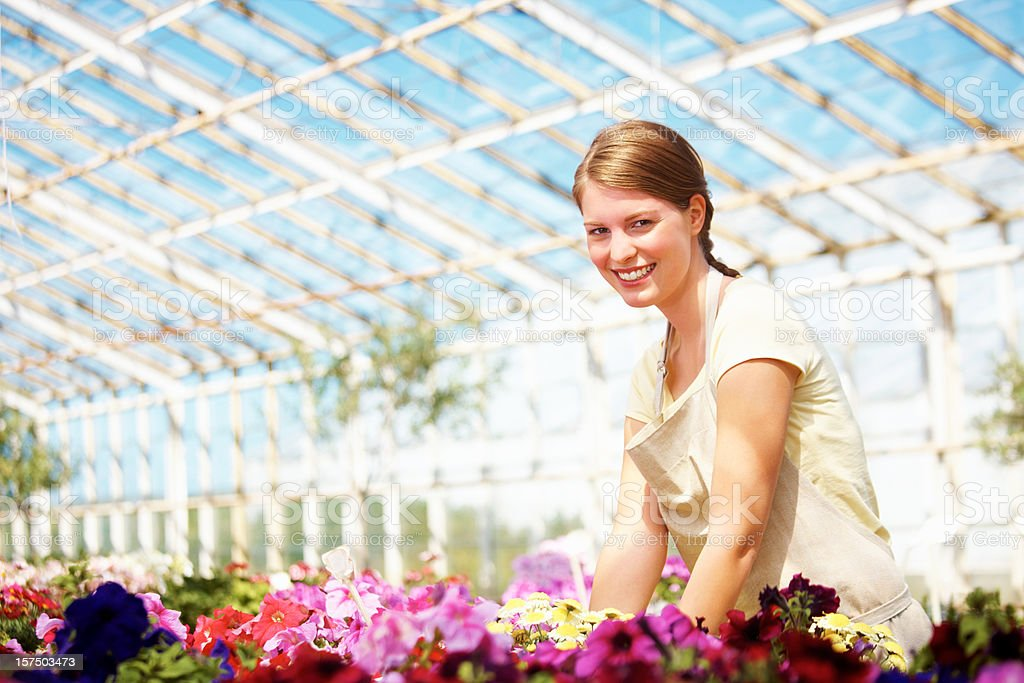 Portrait of a beautiful florist in greenhouse royalty-free stock photo