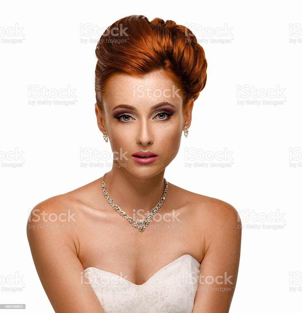 Portrait of a beautiful ginger woman stock photo
