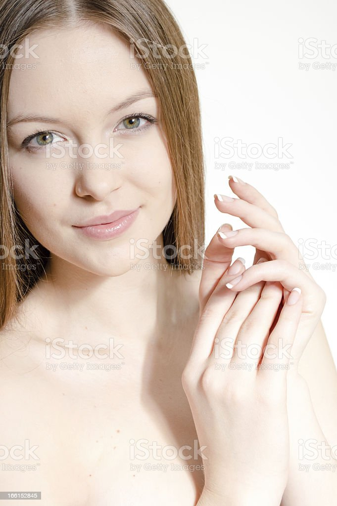 Portrait of a beautiful girl face. Perfect skin. royalty-free stock photo