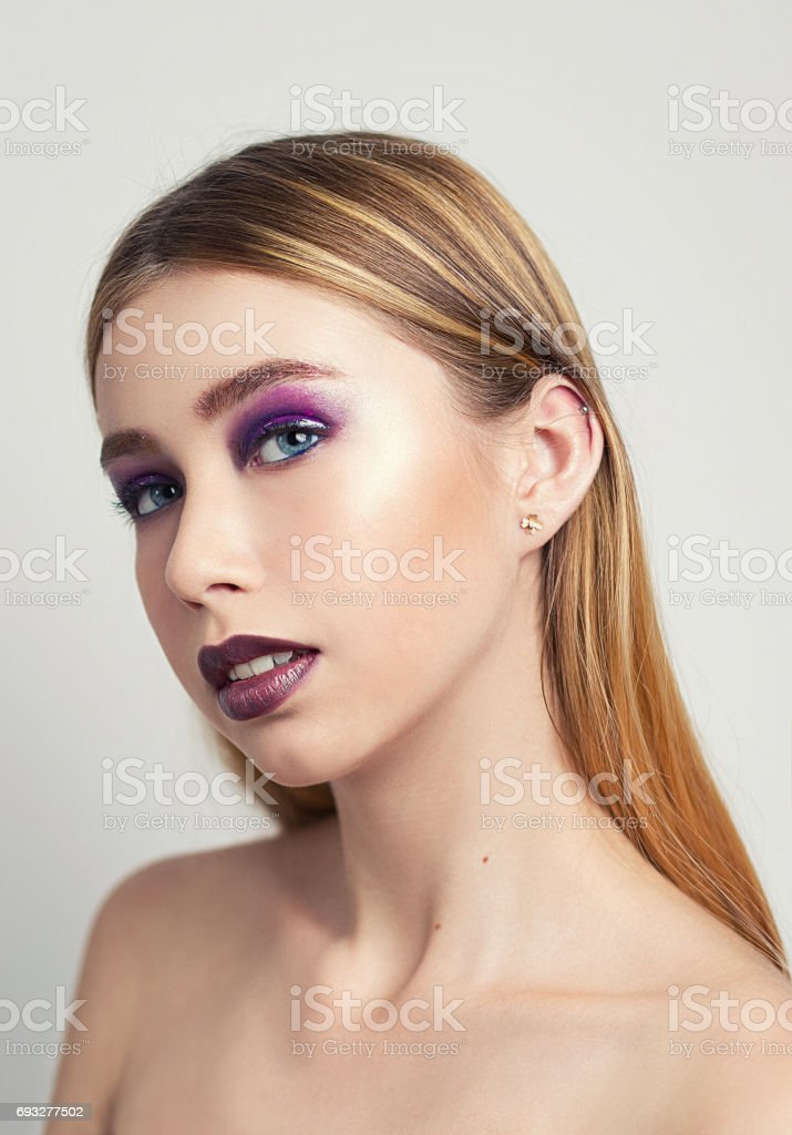 portrait of a beautiful girl in the studio stock photo