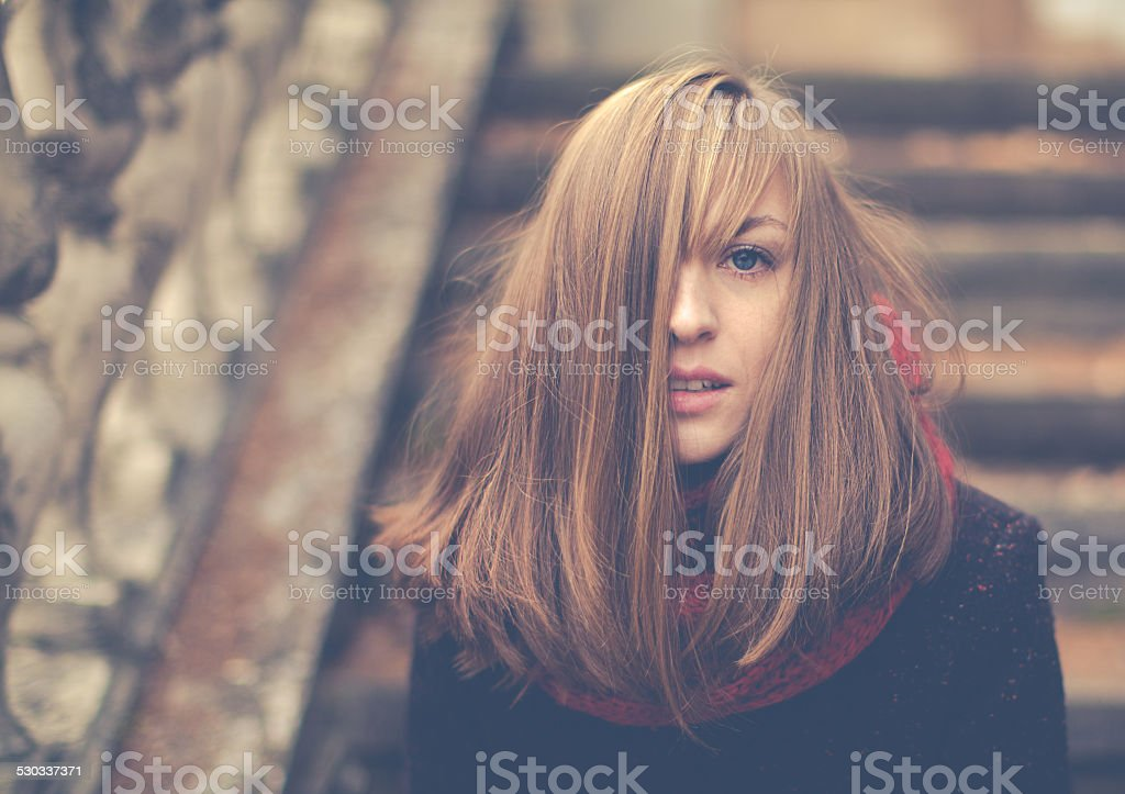 Portrait of a beautiful girl on a cold day stock photo