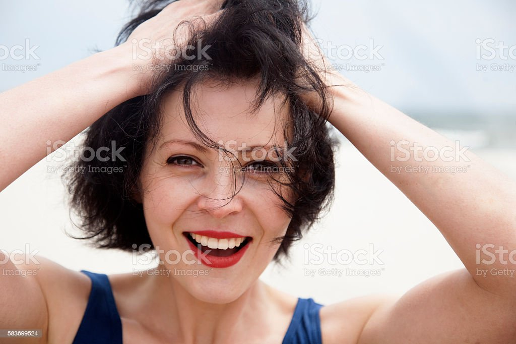 Portrait of a beautiful girl on a windy day. stock photo