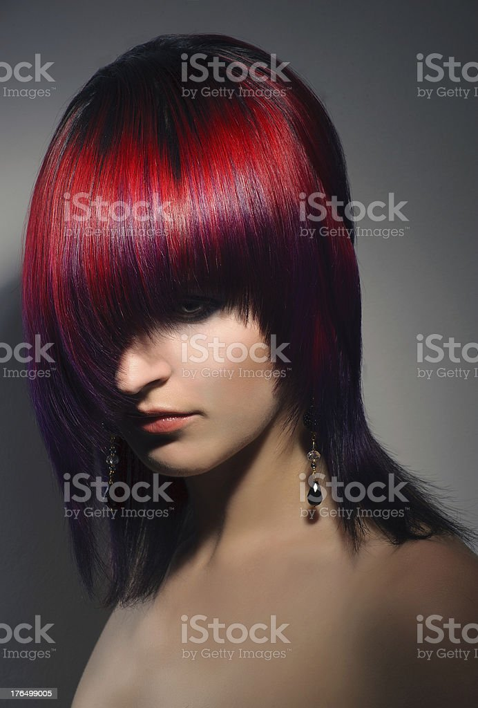 portrait of a beautiful girl, professional hair coloring royalty-free stock photo