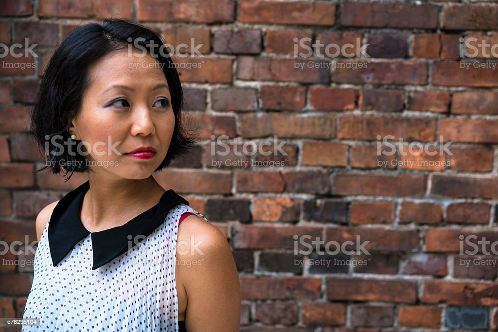 Portrait of a beautiful Japanise woman in Kyoto, Japan. stock photo