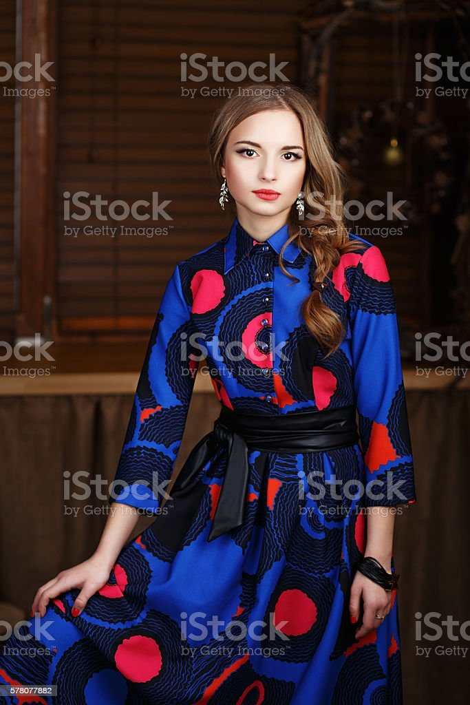Portrait of a beautiful long-haired young girl stock photo