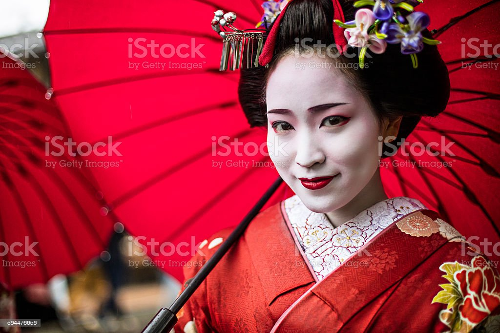 Portrait of a beautiful Maiko stock photo