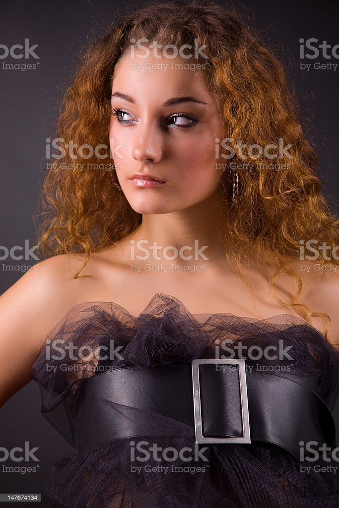 Portrait of a beautiful red-haired girl royalty-free stock photo