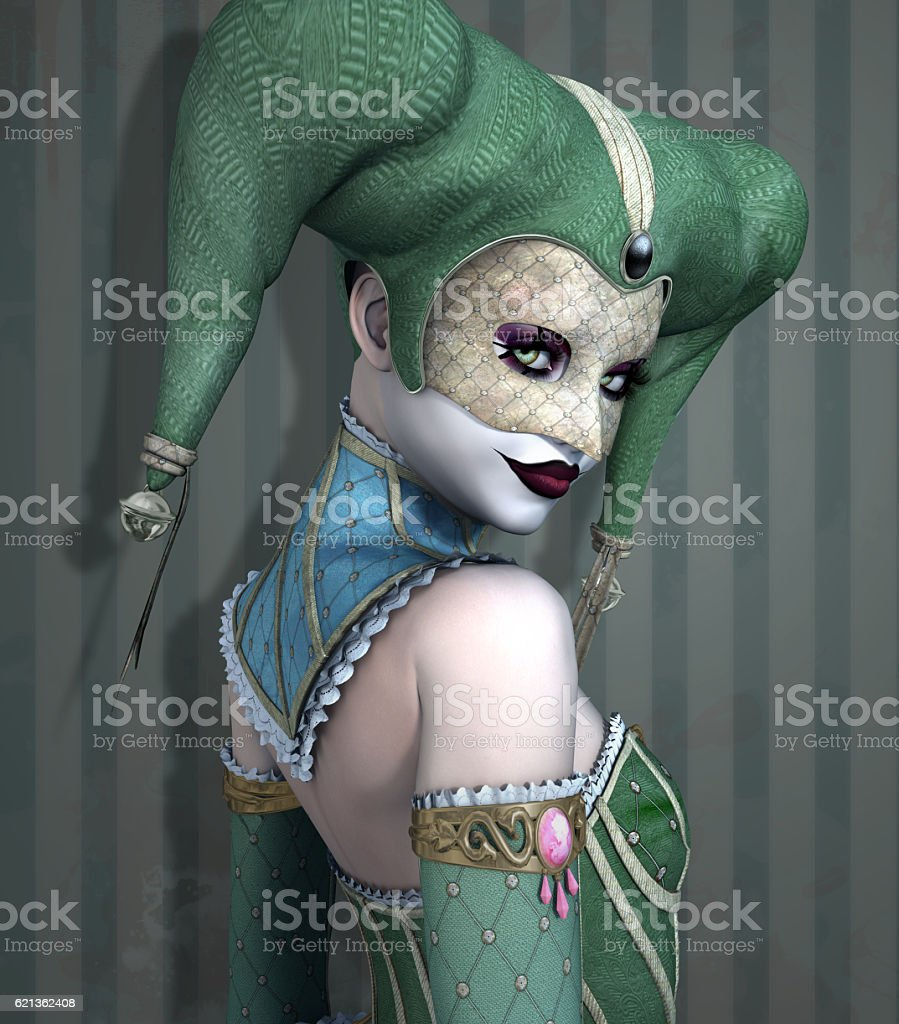 Portrait of a beautiful scary harlequin stock photo